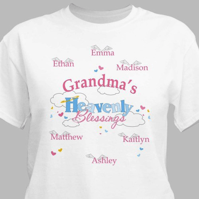 Personalized T-Shirt for Grandma's Heavenly Blessings
