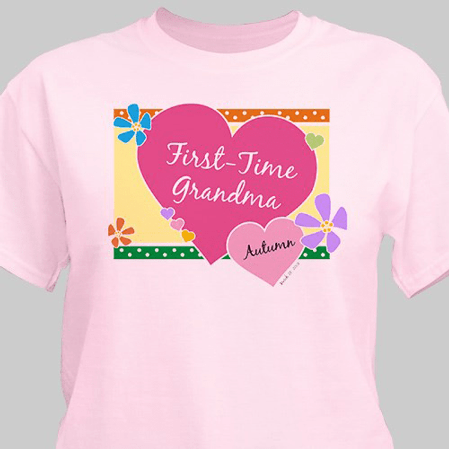 Personalized T-Shirt for First-Time Grandma (Pink)