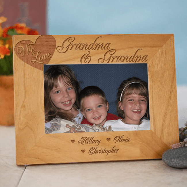 We Love Engraved Personalized Wooden Frame for Grandma and Grandpa!