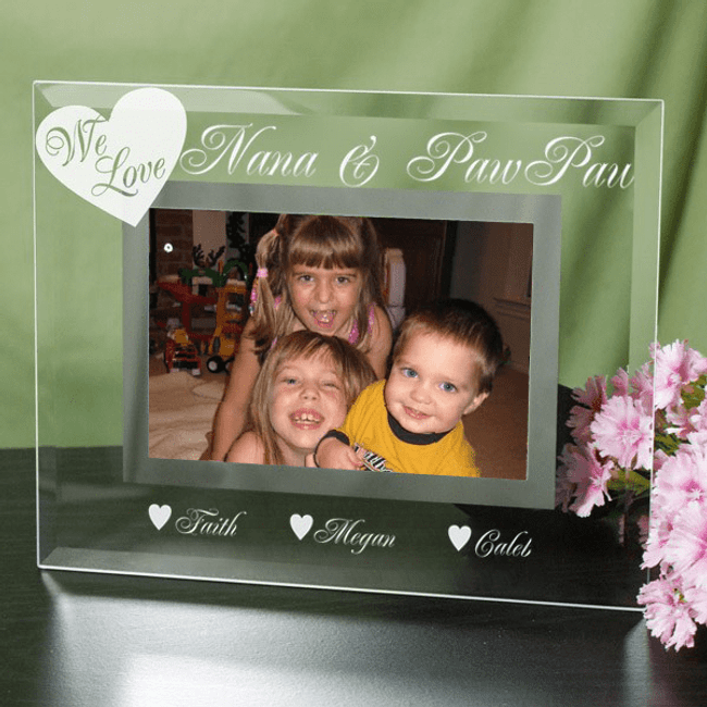 Engraved Glass Frame for a beloved grandma and or grandpa.