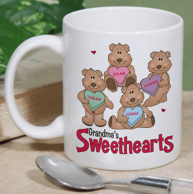Personalized Ceramic Mug, Beary Cute Sweethearts.