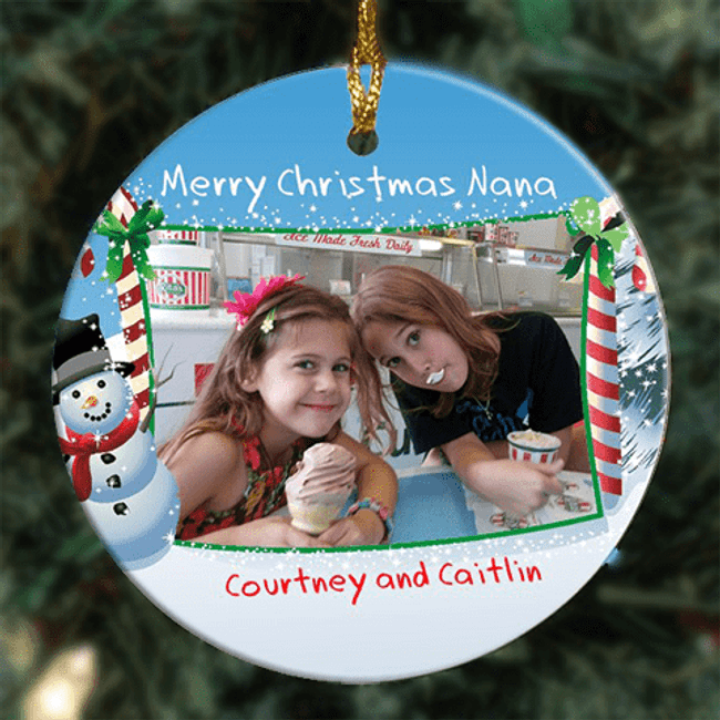 Personalized photo Christmas ornament including two lines of personalization