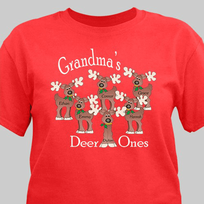 Personalized Christmas T-shirt with Reindeers, Grandma's Deer Ones in Red