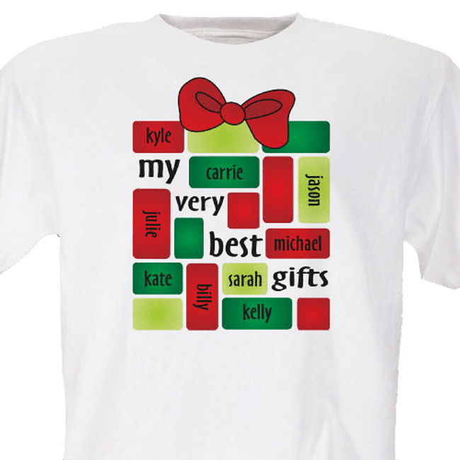 "Christmas T-shirt personalized, special package contains ""my very best gifts"""
