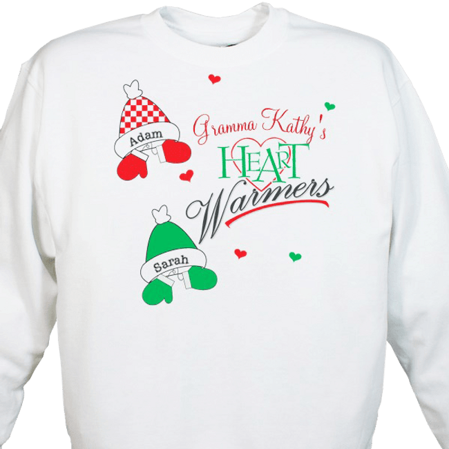 Personalized Christmas sweatshirt with Grandma's Heart Warmers hats and mittens.