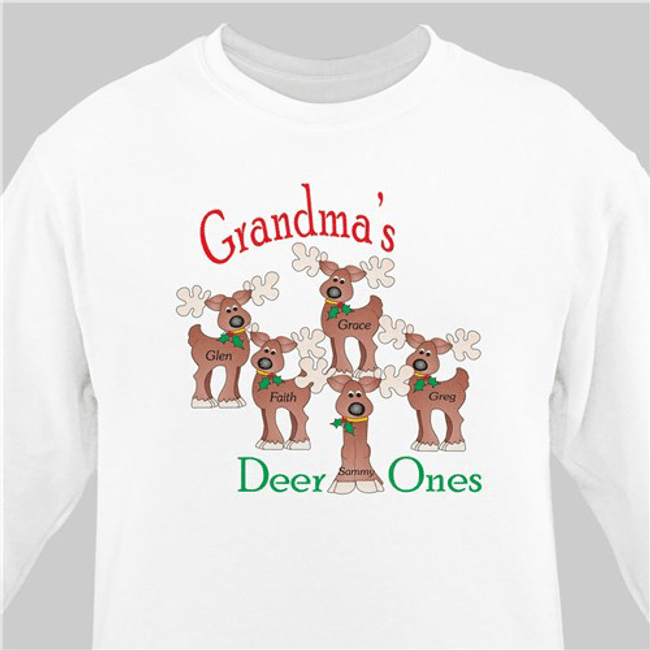 Grandma's Deer Ones Personalized Christmas Sweatshirt (White)