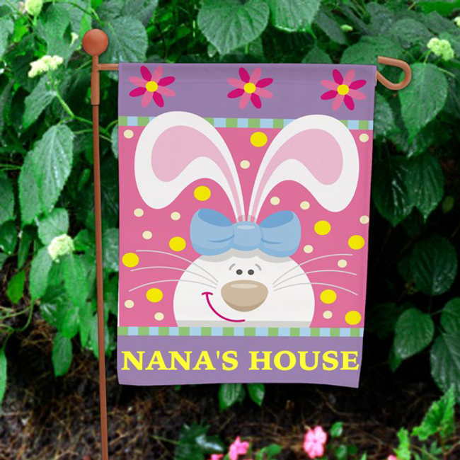 Personalized Easter Garden Flag with the Easter Bunny wearing a bow.