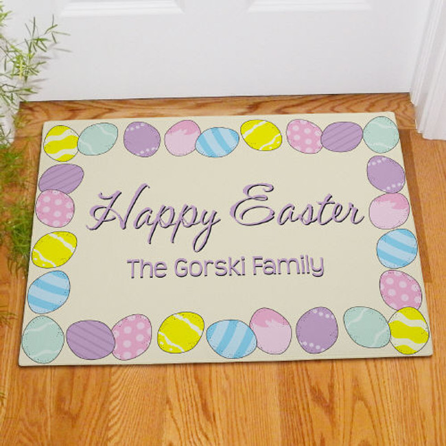 Personalilzed Happy Easter doormat.