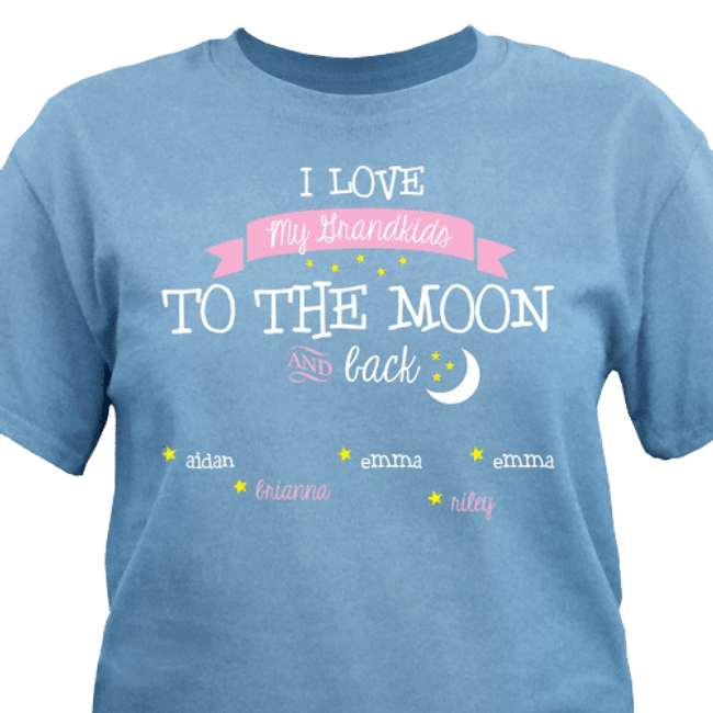 Personalized T-shirt, I Love My Grandkids/Kids to the Moon and Back - River Blue