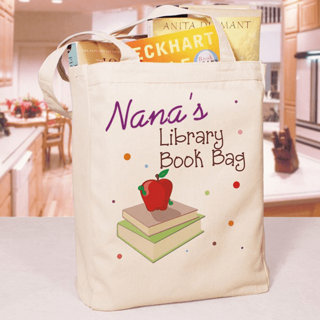 Personalized Canvas Library Book Bag  for Grandma