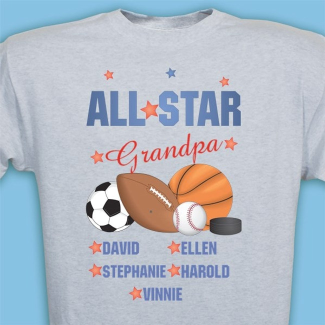All Star personalized t-shirt just for Grandpa - Ash Gray