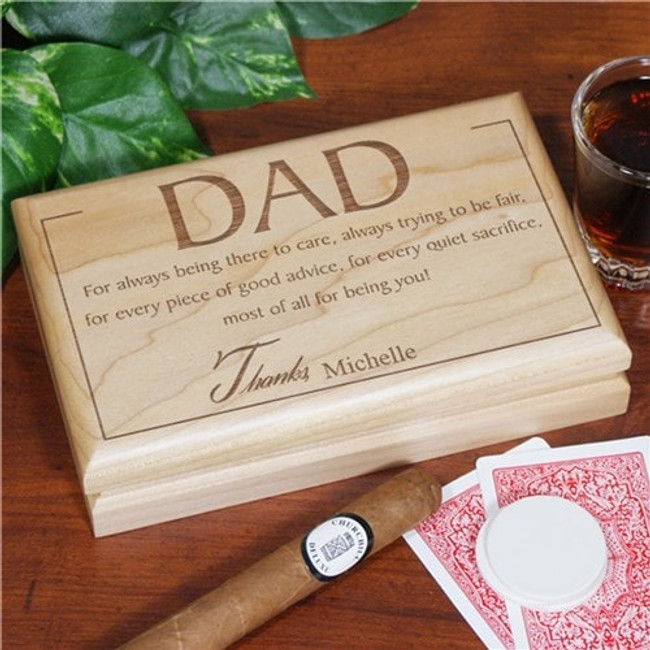 Personalized wood valet box for your special man.