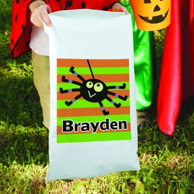 Trick or Treat Halloween Pillow Case Spider Sack personalized for your special boy.