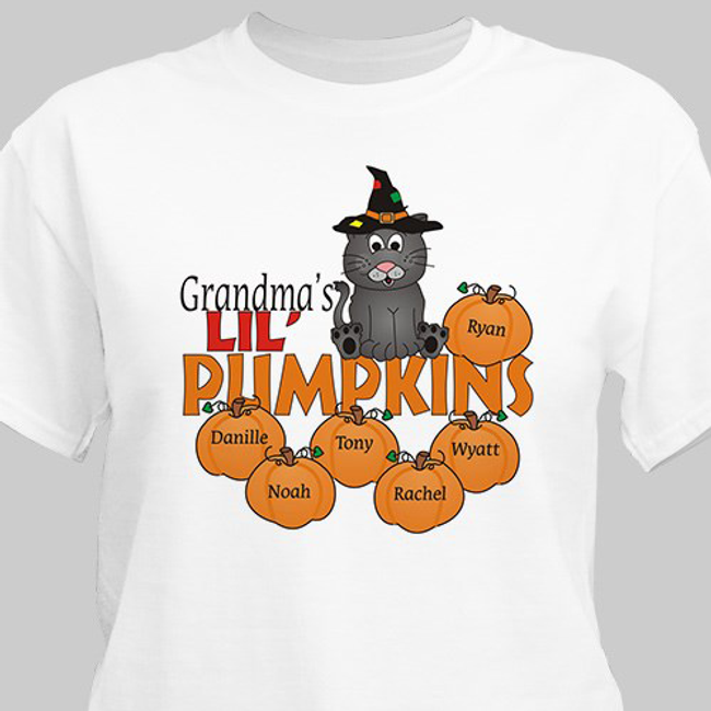 Grandma's Lil' Pumpkins Halloween T-shirt, personalized with all her grandkids.
