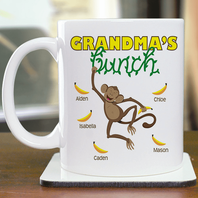 Monkey mug is surrounded by Grandma's Bunch of grandkids.