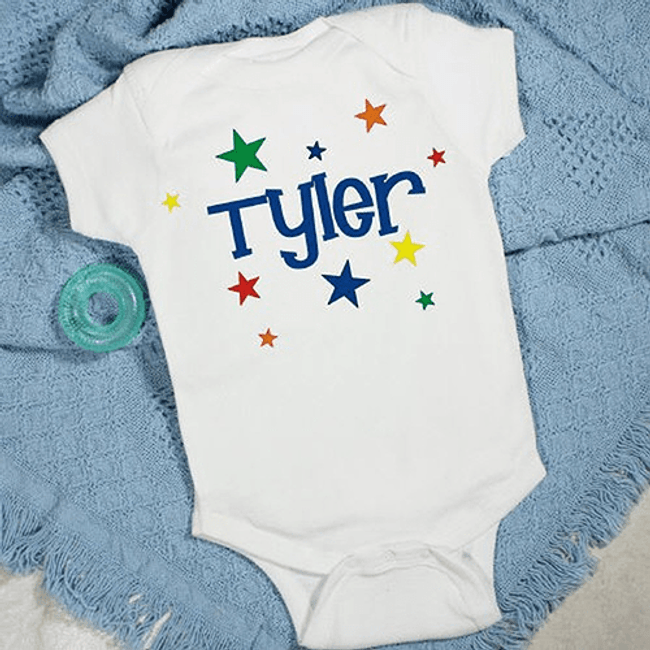 Personalized onesie or infant tshirt with stars for your special baby boy.