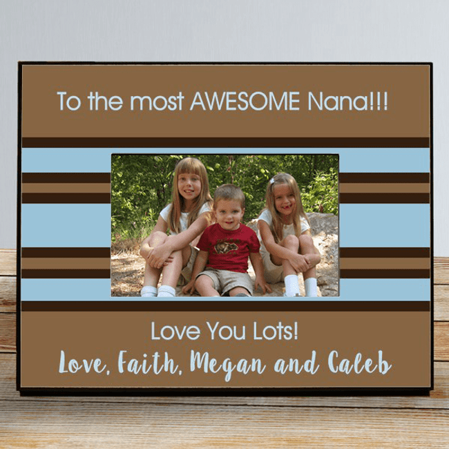 Beautiful brown and blue wood frame can be personalized with three lines of any unique message...just for Grandma!