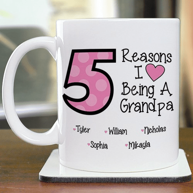 Personalized Mug for Grandpa- Reasons I Love.