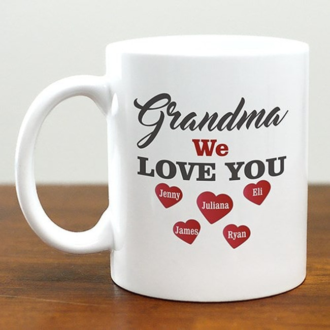 "Personalized ""We Love You"" white ceramic mug for a special grandma."
