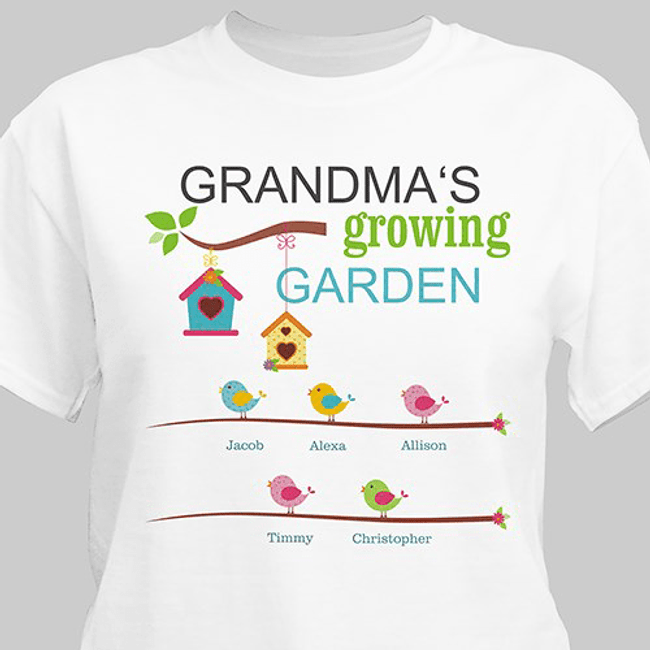 Personalized T - Grandma's Growing Garden (White)