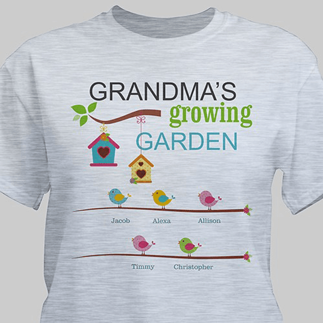 Personalized T - Grandma's Growing Garden (Ash Gray)