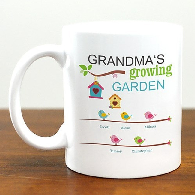 White ceramic mug personalized for grandma and her growing garden of grandkids.