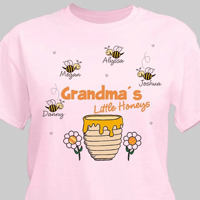 Personalized T-Shirt, Grandma's Little Honeys (Pink)