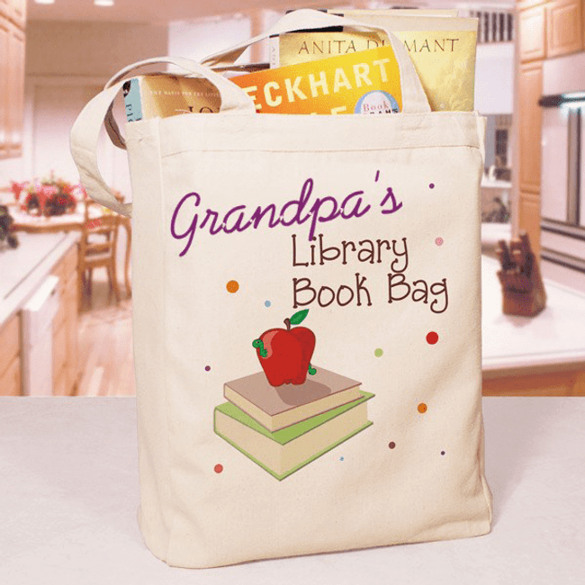 Personalized Canvas Tote for Grandpa's Library Books