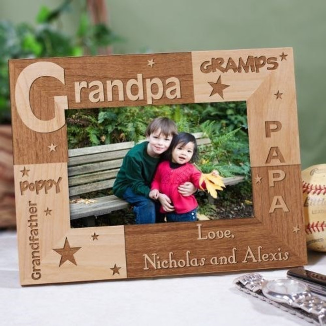 Personalized wood frame with easel back that's all about Grandpa.