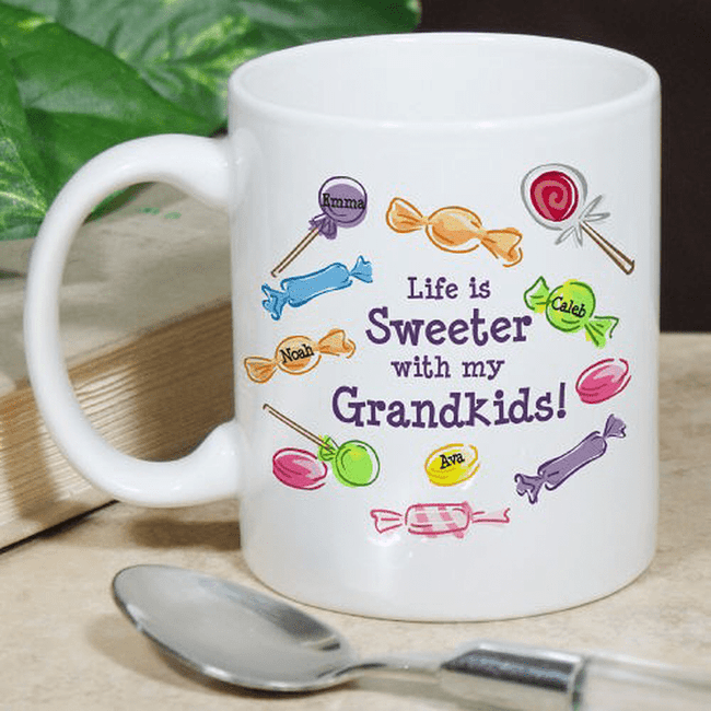 Personalized Grandma Mug - Life is Sweeter surrounded by grandkids.