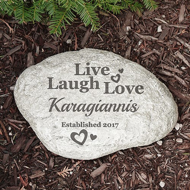Personalized garden stone with Live, Laugh, Love for any family name, along with the year established.