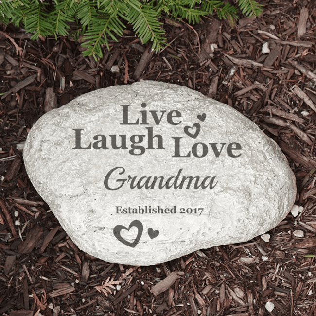 Personalized Garden Stone for Grandma: Live, Laugh, Love