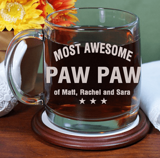 Personalized Glass Mug for the Most Awesome Grandpa