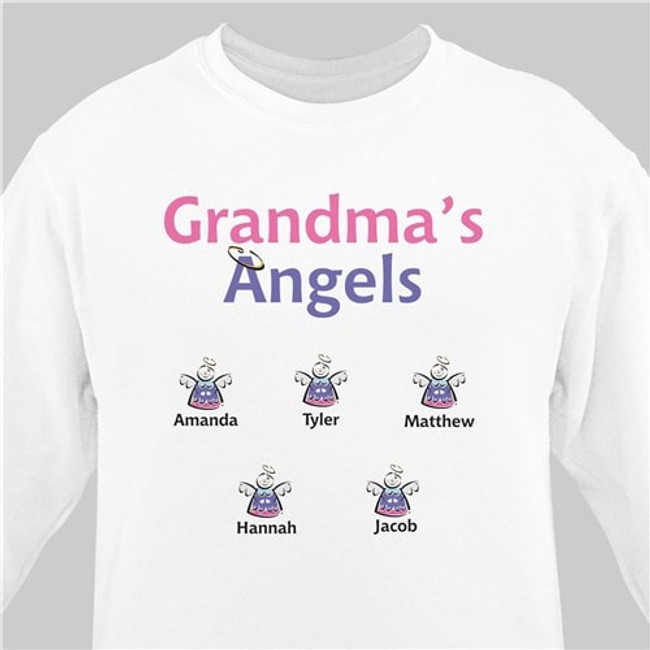 Grandma's angels personalized sweatshirt (White)
