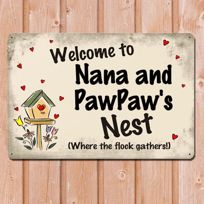 Personalized Metal Sign for Grandma - Welcome to Our Nest