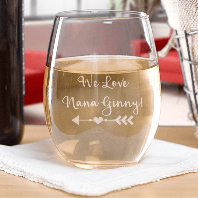 Personalized Stemless Wine Glass for Grandma