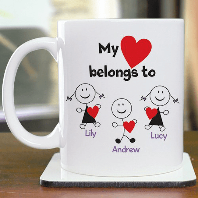 Personalized Mug for Grandma and Grandpa - My Heart Belongs To...