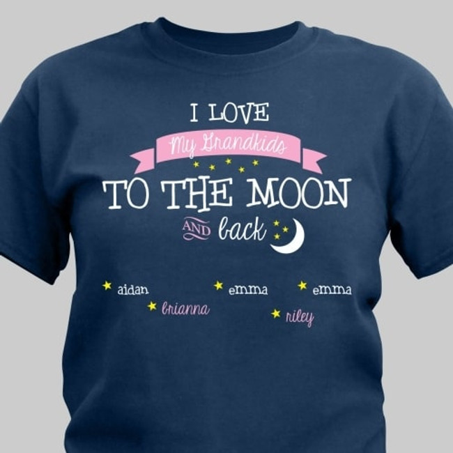 Personalized T-shirt, I Love My Grandkids/Kids to the Moon and Back - Navy Blue