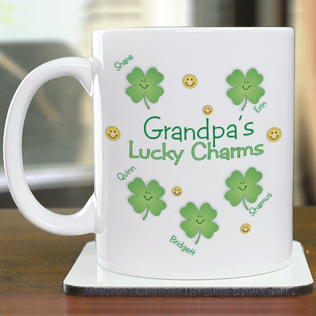 Grandpa's Lucky Charms personalized coffee mug for your favorite Irish Grandpa.