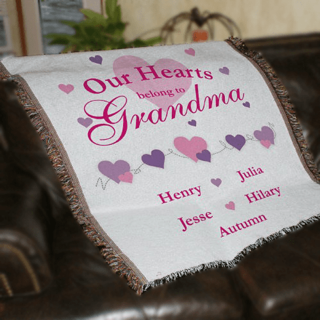 Personalized Grandma Throw, Our Hearts Belong To...