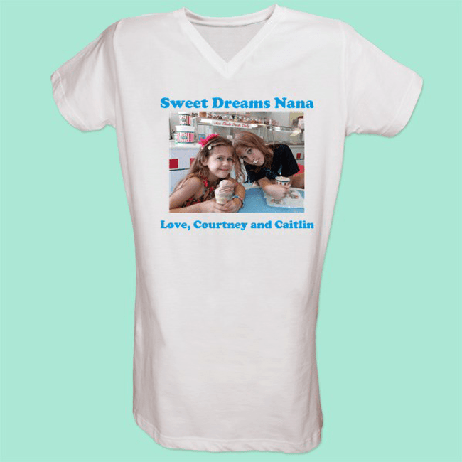 Personalized white v-neck nightshirt has two message lines, plus a favorite photo for Grandma.