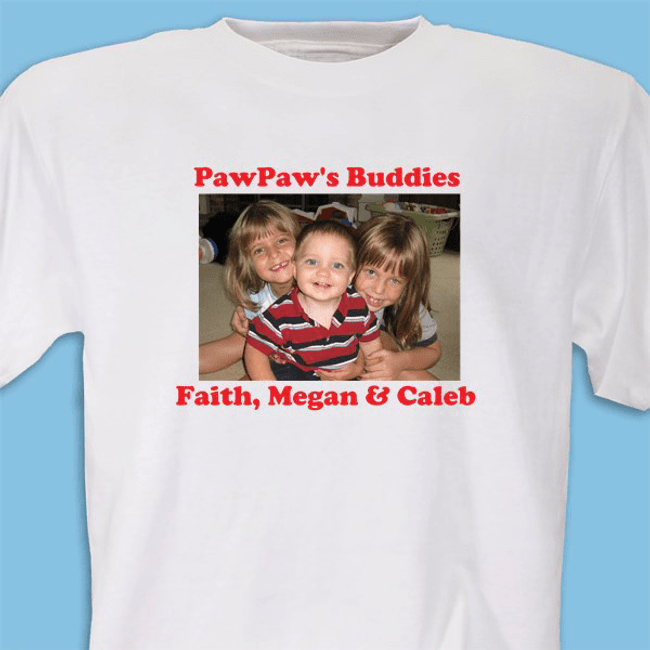 Personalized white T-Shirt includes a large photo image and two lines of personalized message.