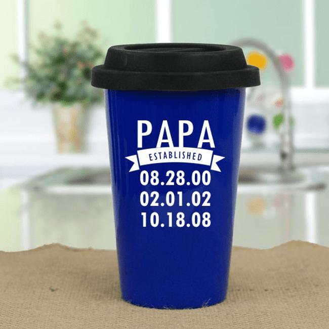 Personalized Travel Mug - When was Grandpa Established?