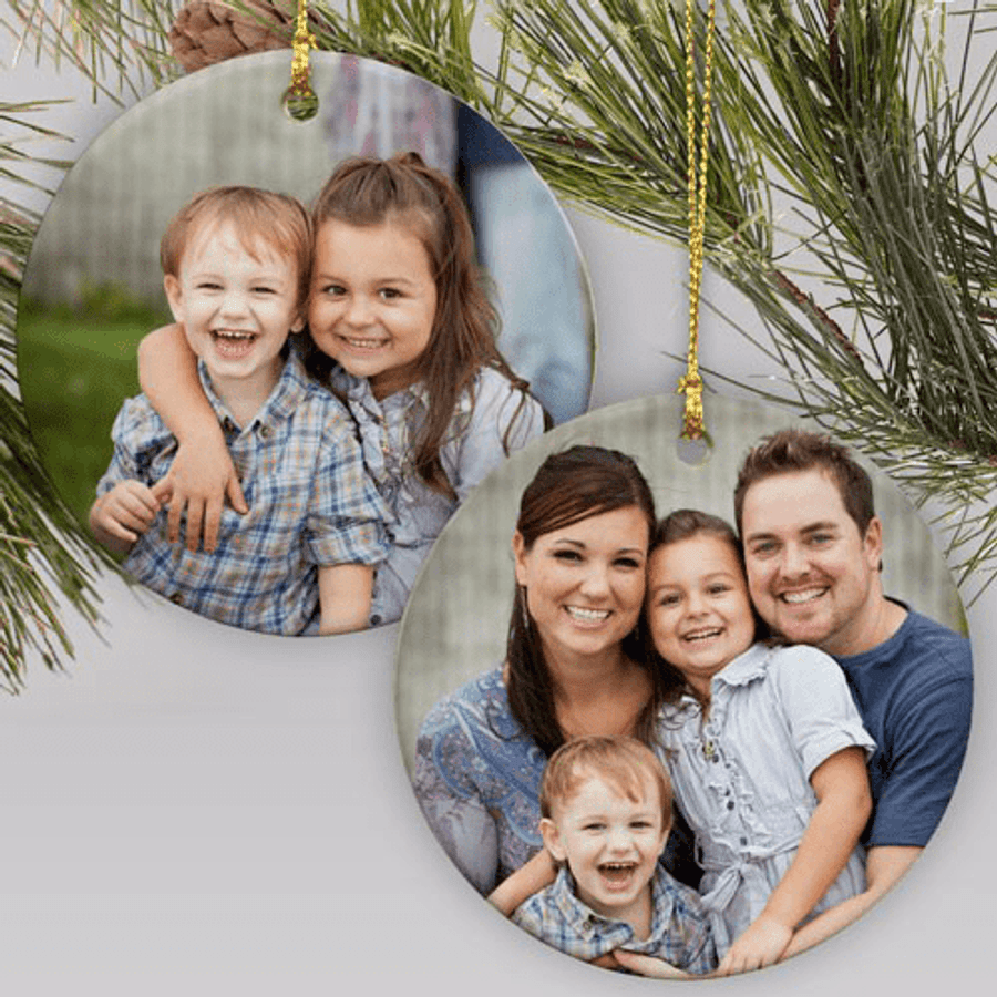 Double-sided photo ornament makes a unique gift for any special person on your list.