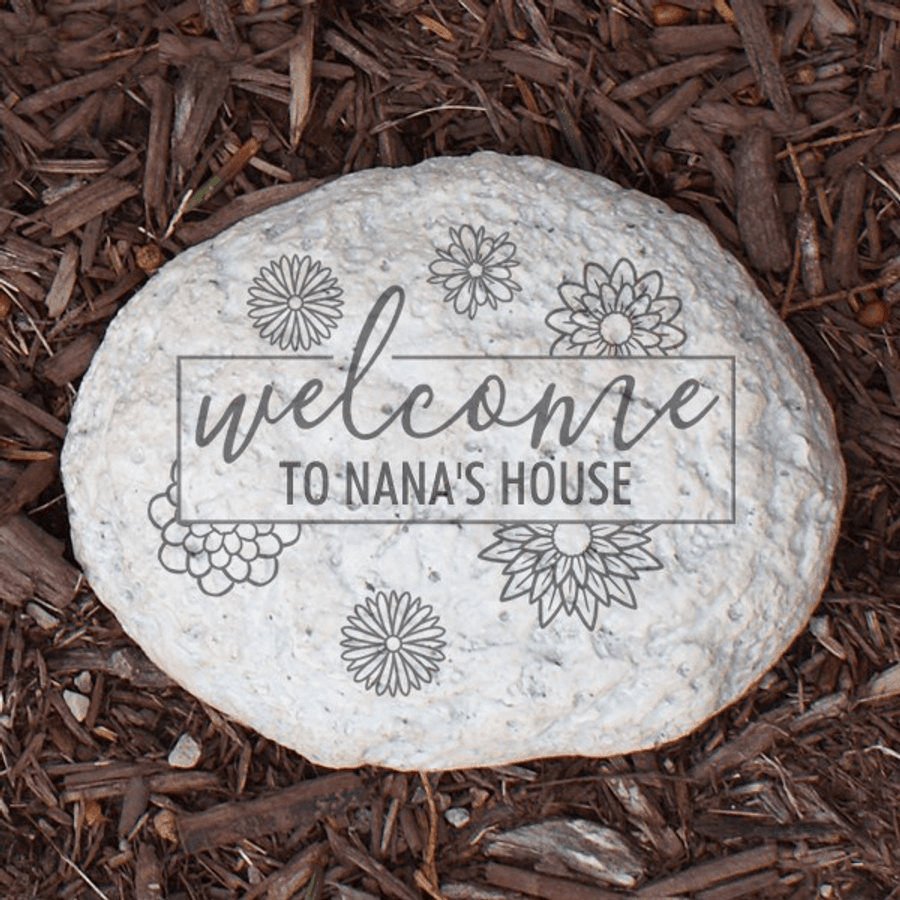 "Personalized ""Welcome"" Stone for Grandma's Garden"
