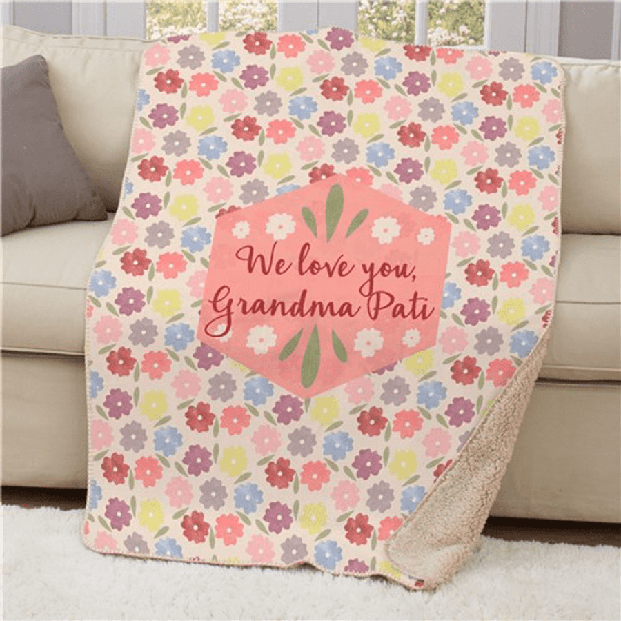 Personalized Floral Sherpa Throw to Keep Grandma Warm!