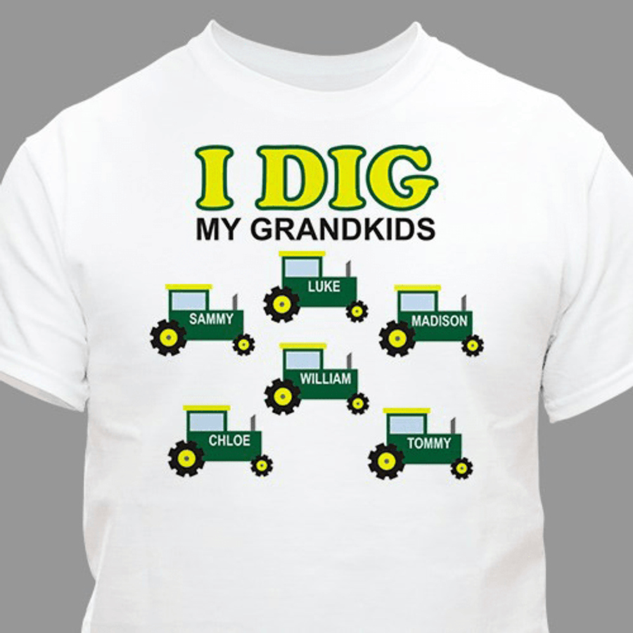 """Personalized T-Shirt for a Grandpa Who """"Digs"""" His Grandkids"""