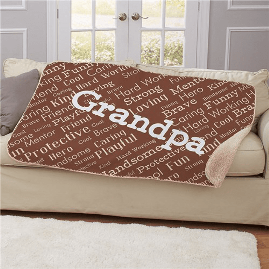 Comfortable brown sherpa throw for that special Grandpa.