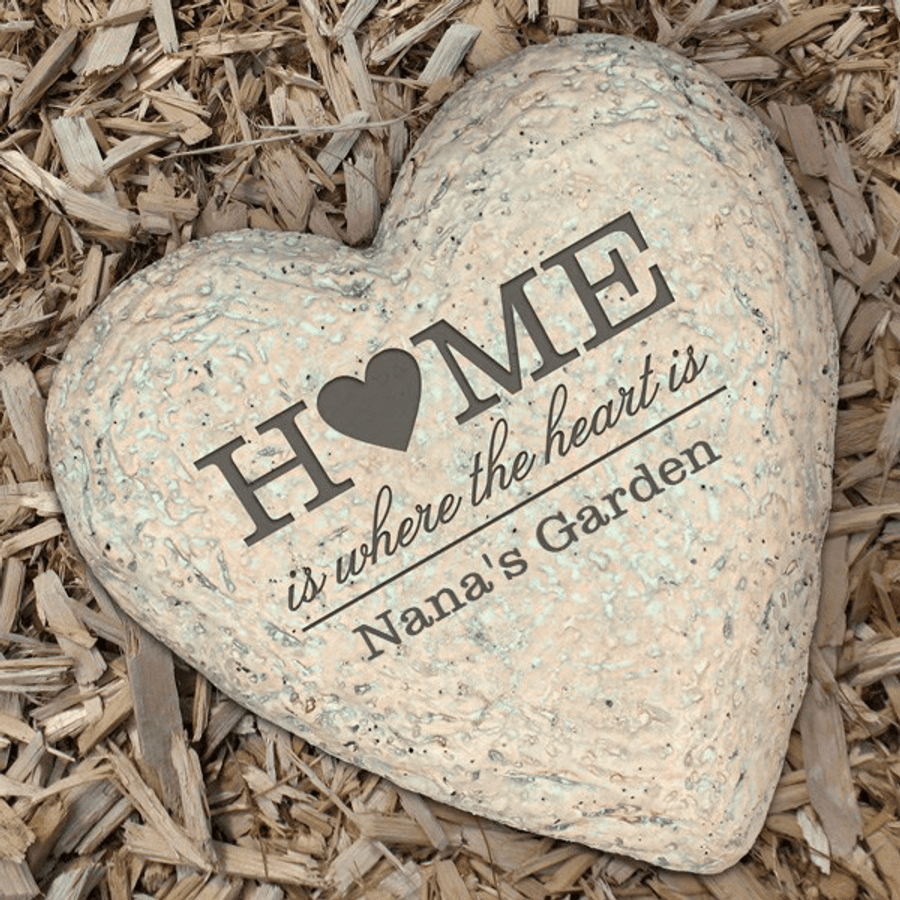 """""""Home is where the heart is"""" personalized garden stone for a special Grandma"""