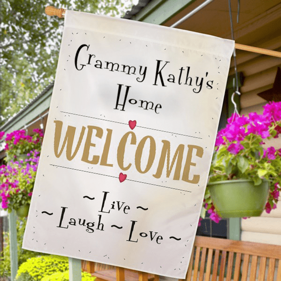 Personalized flag welcomes all to Grandma's House!